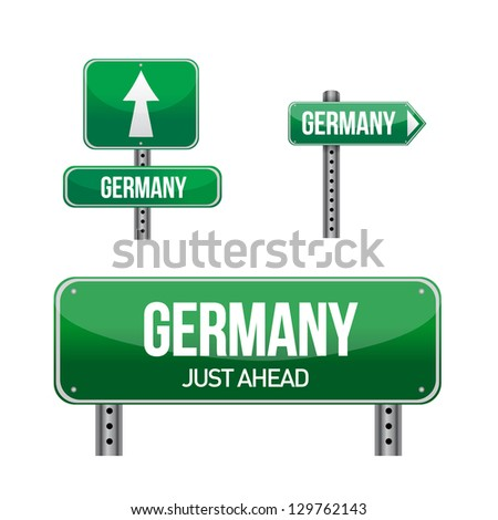 germany Country road sign illustration design over white - stock photo