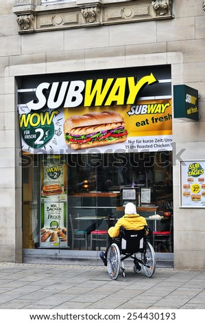 GERMANY-FEB 02:SUBWAY fast food restaurant on February 02,2015 in Mainz, GermanySubway is an American fast food restaurant franchise that primarily sells submarine sandwiches and salads. - stock photo