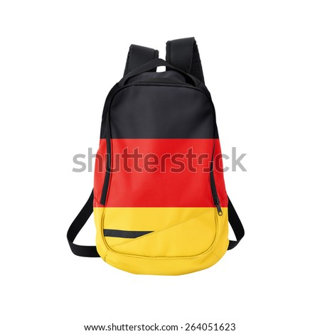 Germany flag backpack isolated on white background. Back to school concept. Education and study abroad. Travel and tourism in Germany - stock photo