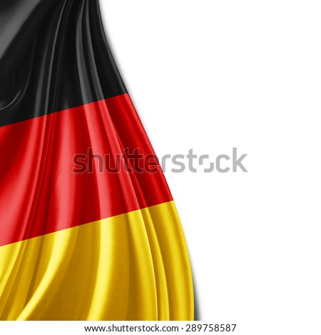 Germany flag of silk and white background - stock photo