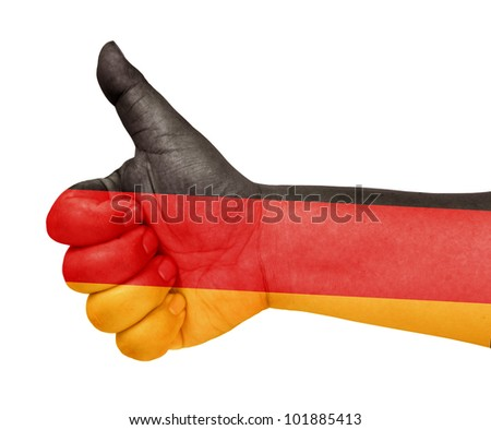 Germany flag on thumb up gesture like icon - stock photo