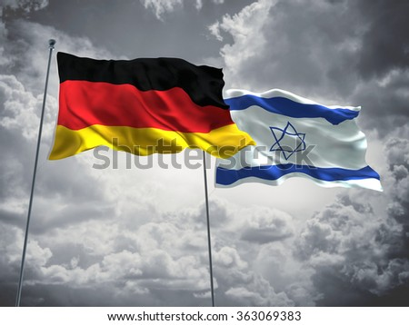 Germany & Israel Flags are waving in the sky with dark clouds  - stock photo