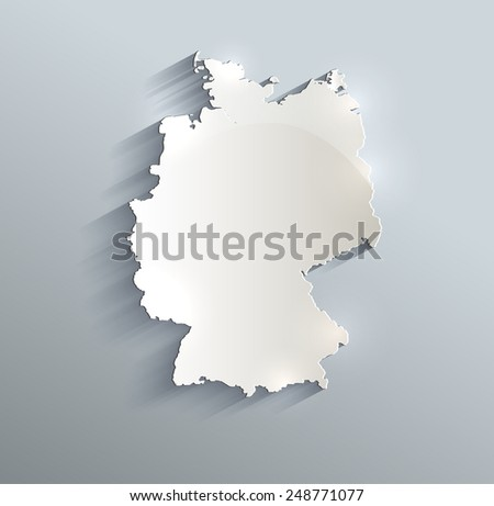 Germany map blue white card paper 3D raster - stock photo
