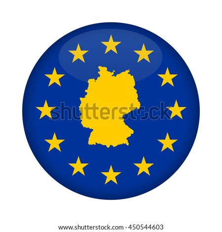Germany map on a European Union flag button isolated on a white background. - stock photo