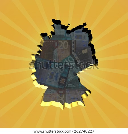 Germany map on euros sunburst illustration - stock photo