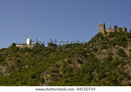 Germany, Rhine Valley, Unesco World Heritage, ruin Sterrenberg and ruin Liebenstein, also known as - the enemy brothers - stock photo