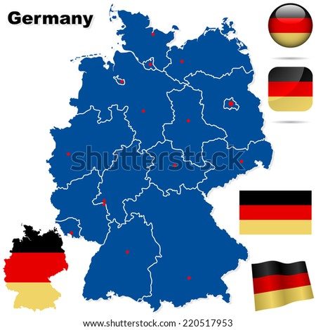 Germany set. Detailed country shape with region borders, flags and icons isolated on white background. - stock photo