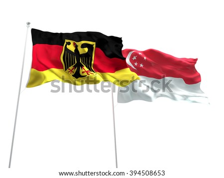Germany & Singapore Flags are waving on the isolated white background - stock photo