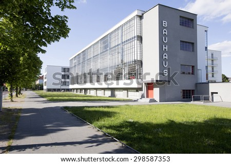 GERMANY - The Bauhaus school building in Dessau on May 25, 2015. The building is in the Unesco World Heritage List. - stock photo