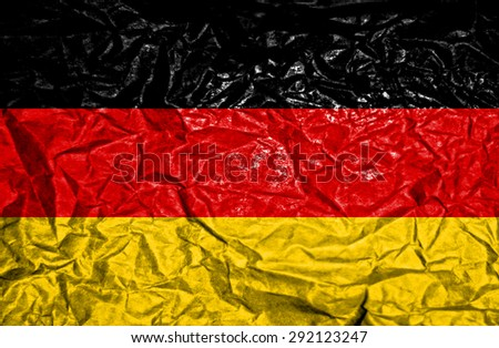 Germany vintage flag on old crumpled paper background - stock photo