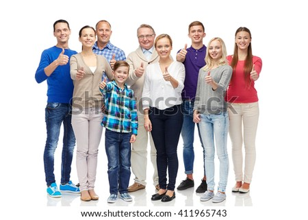 gesture, family, generation and people concept - group of smiling men, women and boy showing thumbs up - stock photo