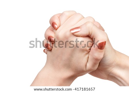 Gesture female hand hand in hand indicating friendship isolated on white background - stock photo