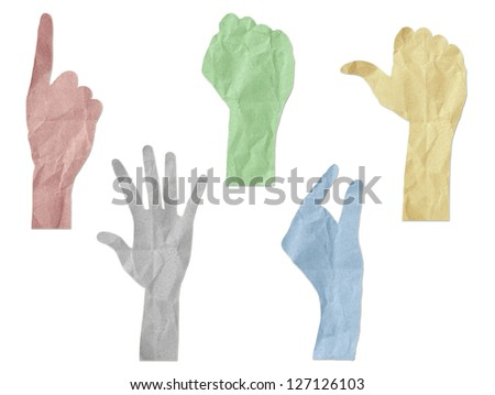 gesture hands recycled paper craft stick on white - stock photo
