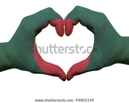 Gesture made by bangladesh flag colored hands showing symbol of heart and love, isolated on white background - stock photo