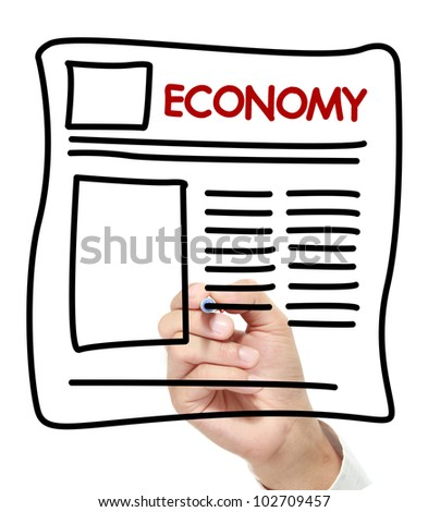 gesture of hand draw economy News. economy Newspaper hand drawn on white board - stock photo
