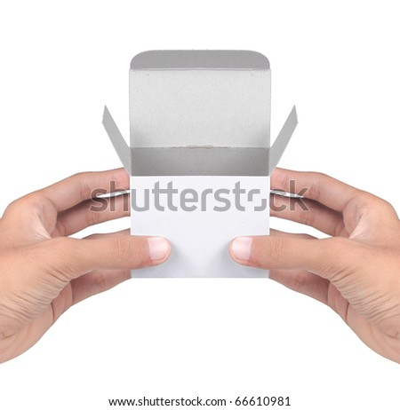 gesture of hand holding white cardboard - stock photo