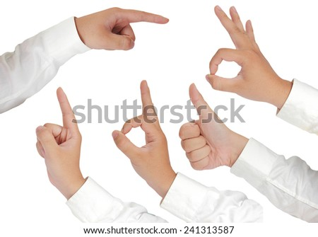 Gesture of hand showing thumb up, thumb up, pointing, OK sign and number one in formal long sleeved shirt isolated on white - stock photo