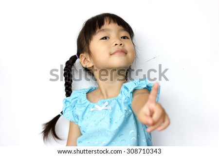Gestures of a child on a white background . - stock photo