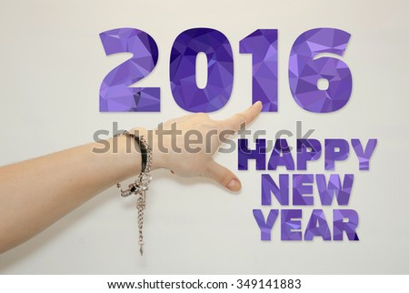 Gestures woman hands. Happy new year - stock photo