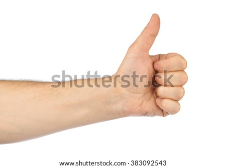 Gesturing hand isolated on white background - stock photo