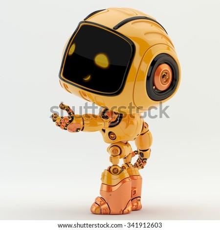 Gesturing orange robotic engineer, side render - stock photo