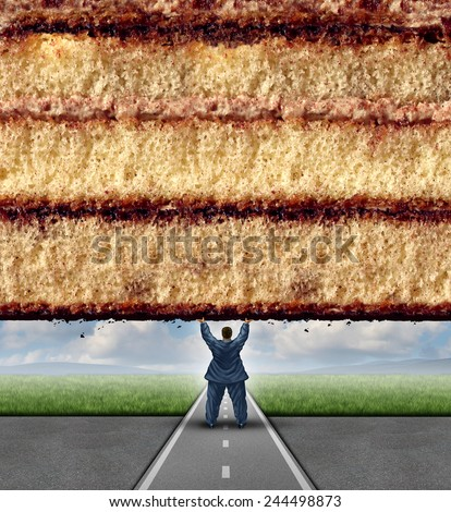 Get fit concept and losing weight fitness and health care metaphor as an overweight man lifting a wall made of cake as a symbol of overcoming dieting challenges. - stock photo
