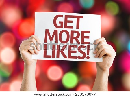 Get More Likes card with colorful background with defocused lights - stock photo