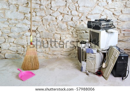 get rid of old computer equipment - stock photo