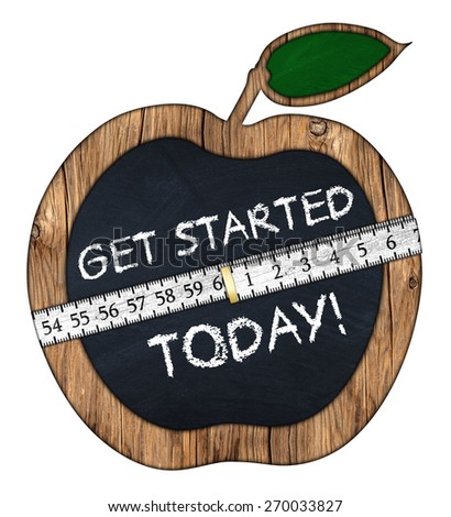 get started today apple blackboard with measuring tape - stock photo