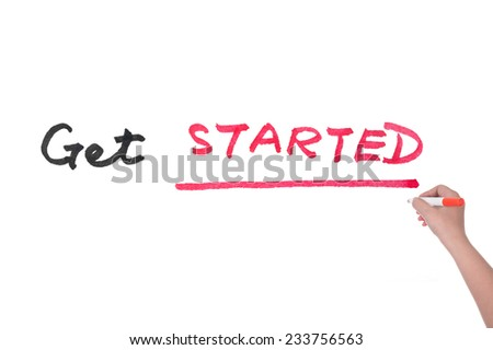 Get started words written on white paper - stock photo