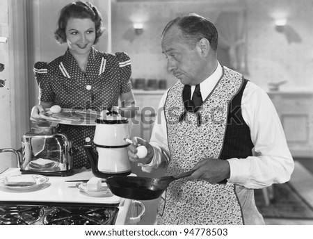 Getting breakfast ready - stock photo