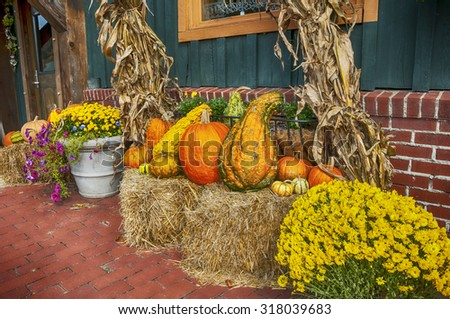 Getting ready for fall displaying pumpkins gourds and corn stalks on bales of hay - stock photo