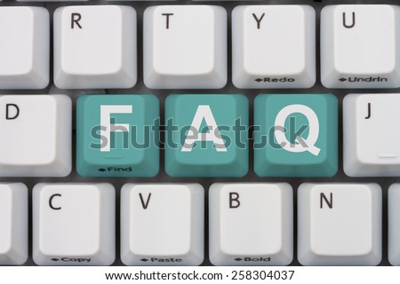 Getting the FAQs online, A gray computer keyboard with the word FAQ in teal letters - stock photo