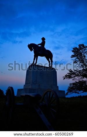 Gettysburg battleground at sunset - stock photo