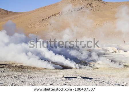Geyser in Uyuni, Bolivia - Salt lake desert - stock photo
