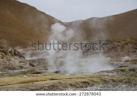 Geyser of El Tatio field located in Atacama Desert, Chile - stock photo
