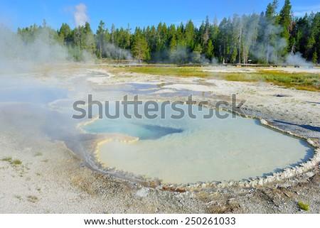 geyser pool in Upper Geyser basin of Yellowstone National Park, Wyoming - stock photo