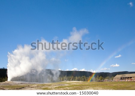 Geyser Rainbow - stock photo