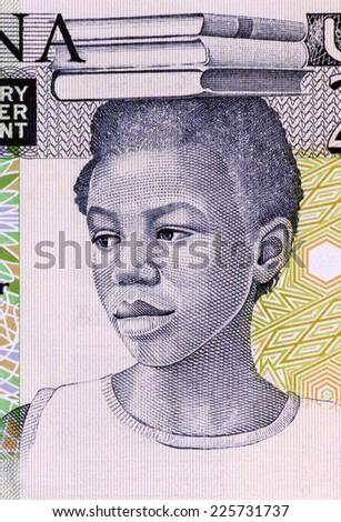 GHANA - CIRCA 1979: School Girl on 2 Cedis 1979 Banknote from Ghana - stock photo