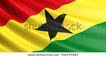 Ghana flag fluttering in wind. - stock photo