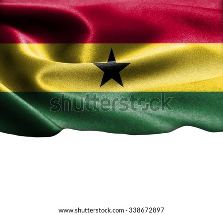 Ghana flag on smooth silk texture Space for Text  - stock photo