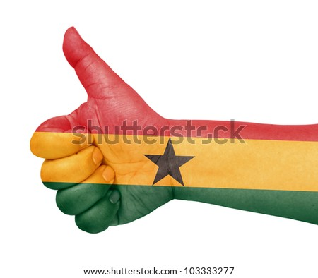 Ghana flag on thumb up gesture like icon on white background - stock photo