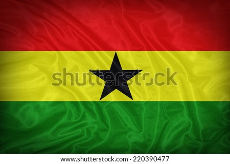 Ghana flag pattern on the fabric texture ,vintage style - stock photo