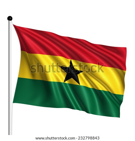 Ghana flag with fabric structure on white background - stock photo