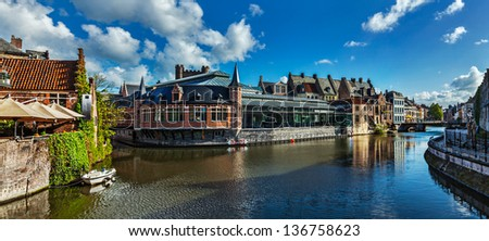 Ghent canal and medieval building. Ghent, Belgium - stock photo