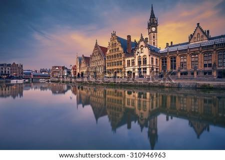 Ghent. Image of Ghent, Belgium during dramatic twilight. - stock photo