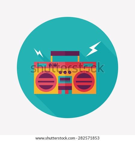 ghetto blaster audio flat icon with long shadow,eps10 - stock photo