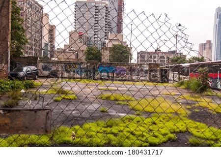 Ghetto in NY. Harlem in New York City - stock photo