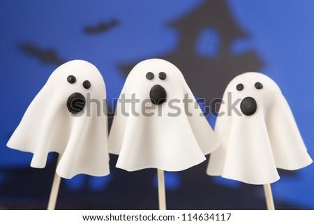 Ghost cake pops - stock photo