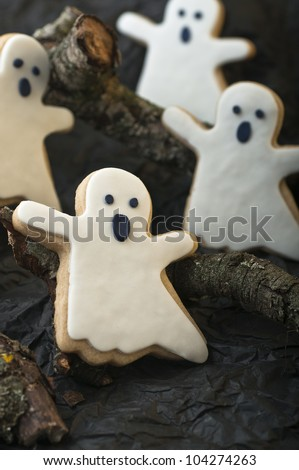 Ghost cookies for Halloween party - stock photo